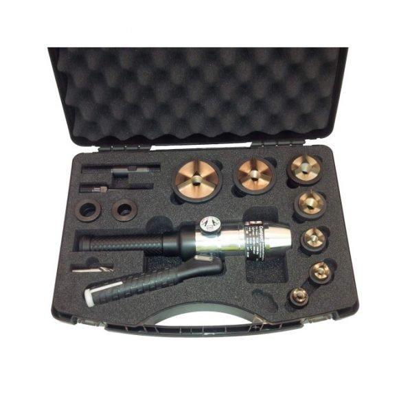 Hydraulic Hole Puncher Straight c/w Case, Accessories, Punch & Dies M16-M63 S/Steel Tri-split