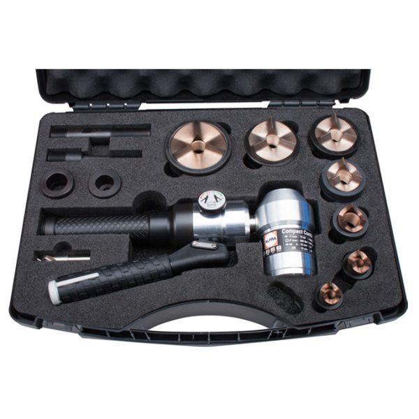 Hydraulic Hole Puncher 90° Head, c/w Case, Accessories, Punch & Dies M16-M63 S/Steel Tri-split