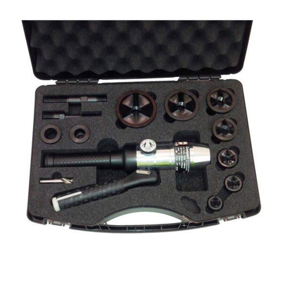 Hydraulic Hole Puncher Straight c/w Case, Accessories, Punch & Dies M16-M63 M/Steel Tri-split