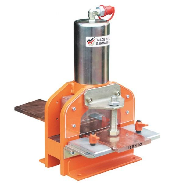 Busbar cutter to suit copper bar 125 x 12mm c/w quick coupling, vice with centering jaws & material holder