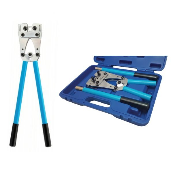 Hand Crimper For Copper Lugs 6.0mm²-120.0mm² Rotatable Dies c/w Removable Handles & Case